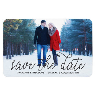 Script Black | Photo Save the Date Magnet