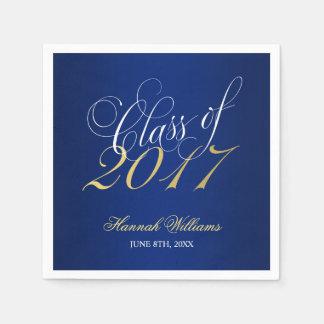 Script Blue Gold Class of 2017 Graduation Disposable Serviette