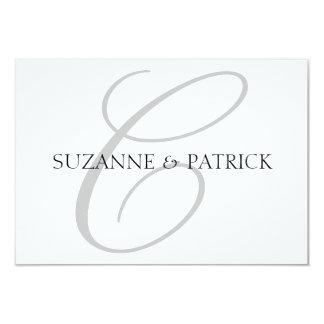 Script C Monogram Notecard (Silver / Black) Custom Invitations