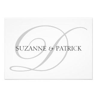 Script D Monogram Notecard Silver Black Personalized Announcement