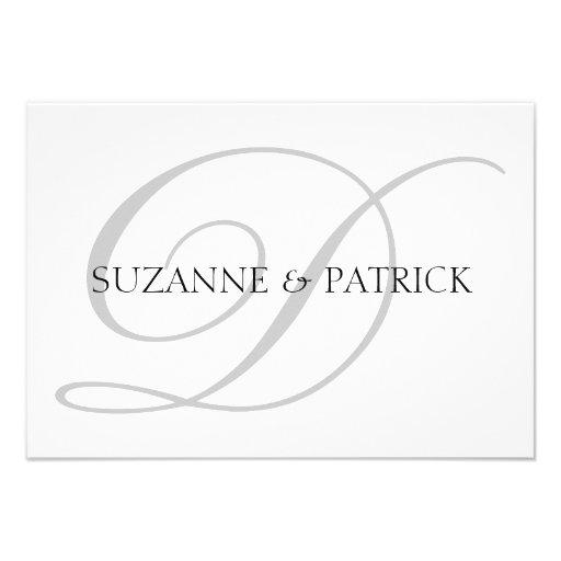 Script D Monogram Notecard (Silver / Black) Personalized Announcement