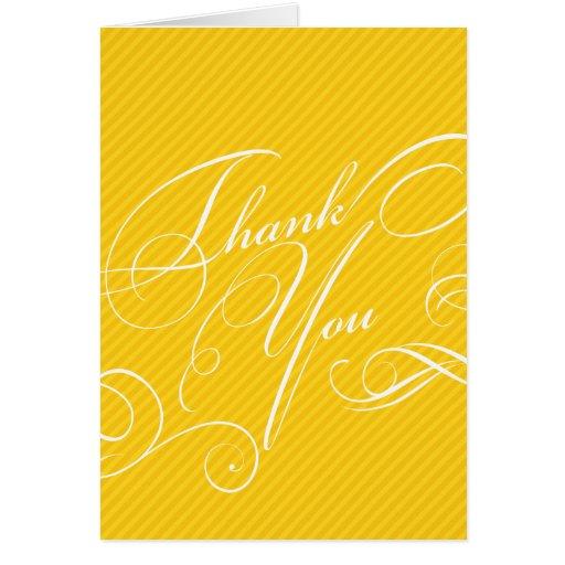 Script Diagonals in Gold Thank You Card