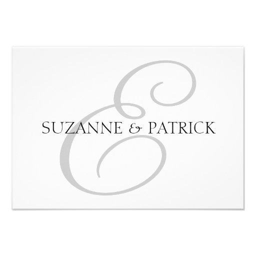 Script E Monogram Notecard (Silver / Black) Personalized Announcements