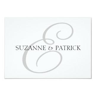 Script E Monogram Notecard (Silver / Black) 3.5x5 Paper Invitation Card
