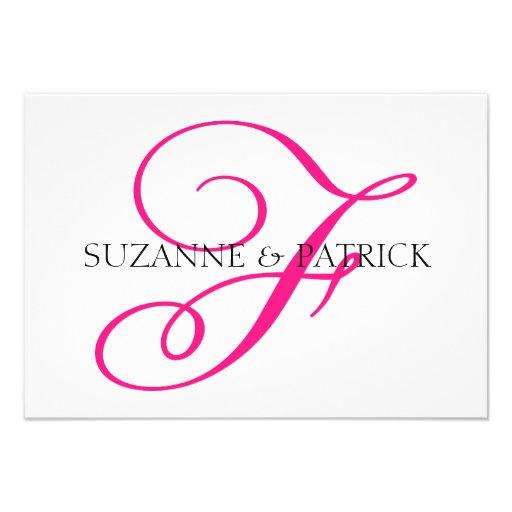 Script F Monogram Notecard (Hot Pink / Black) Invitation