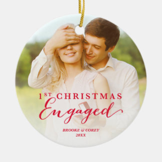 Script First Christmas Engaged Holiday Photo Round Ceramic Decoration