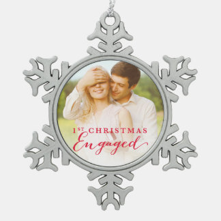Script First Christmas Engaged Holiday Photo Snowflake Pewter Christmas Ornament
