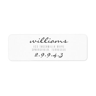 Script font return address label