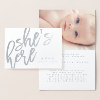 SCRIPT FONT SHES HERE BIRTH ANNOUNCEMENT CARD.