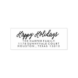 Script Happy Holidays Return Address Stamp