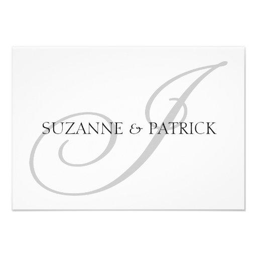 Script I Monogram Notecard (Silver / Black) Personalized Invitation