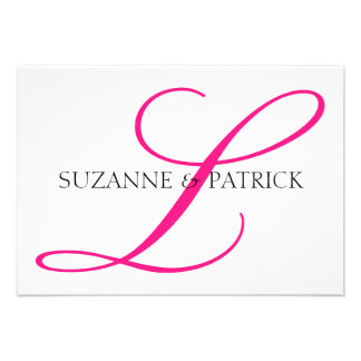 Script L Monogram Notecard Hot Pink Black Custom Invitations