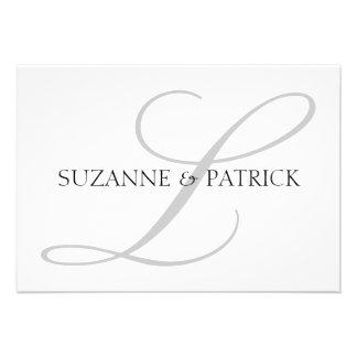 Script L Monogram Notecard Silver Black Personalized Invites