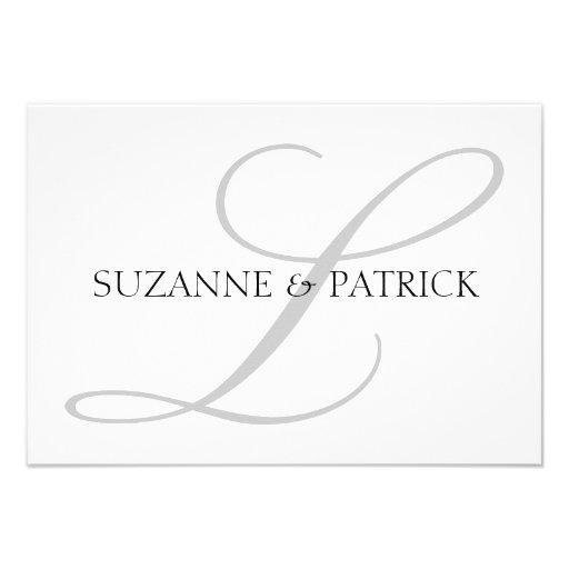Script L Monogram Notecard (Silver / Black) Personalized Invites
