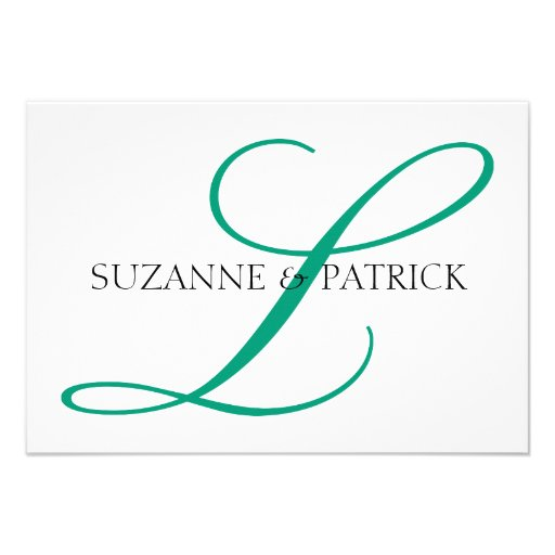 Script L Monogram Notecard (Silver / Black) Personalized Invitations