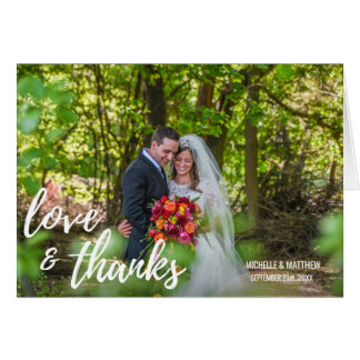 Script LOVE & THANKS wedding note card | PHOTO
