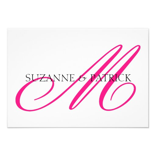 Script M Monogram Notecard (Hot Pink / Black) Personalized Invite