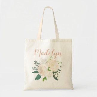 Script Monogram | Neutral Watercolor Bouquet Tote Bag