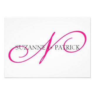 Script N Monogram Notecard Hot Pink Black Custom Invites