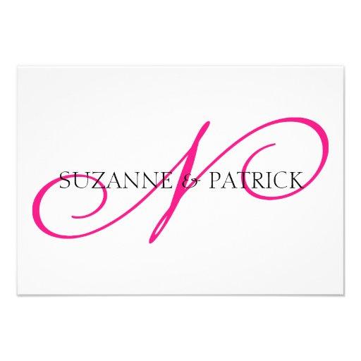 Script N Monogram Notecard (Hot Pink / Black) Custom Invites