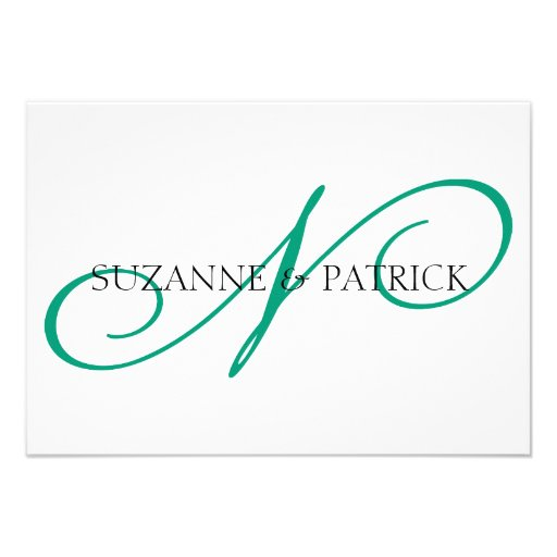 Script N Monogram Notecard (Silver / Black) Invites