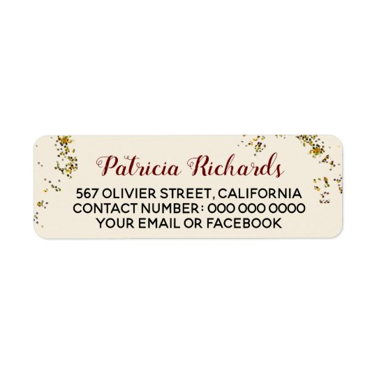 script name + address information on pale beige return address label