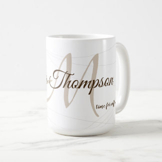 script name and initial (monogram) white 15 oz coffee mug