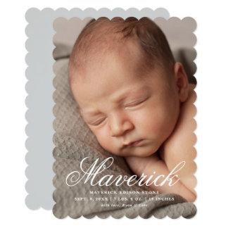 Script name three photo modern birth announcement