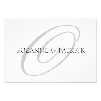 Script O Monogram Notecard Silver Black Personalized Invites