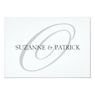 Script O Monogram Notecard (Silver / Black) Personalized Invites