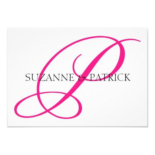 Script P Monogram Notecard (Hot Pink / Black) Custom Invitation