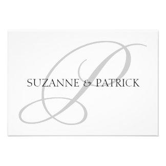 Script P Monogram Notecard Silver Black Personalized Invites