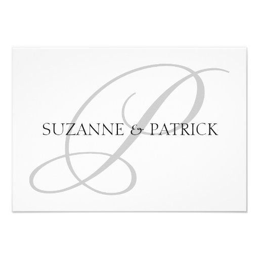Script P Monogram Notecard (Silver / Black) Personalized Invites