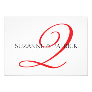Script Q Monogram Notecard Red Black Personalized Invitation