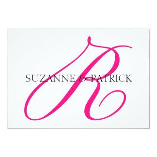 Script R Monogram Notecard (Hot Pink / Black) 3.5x5 Paper Invitation Card