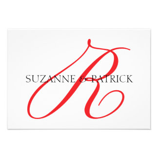 Script R Monogram Notecard Red Black Personalized Invite
