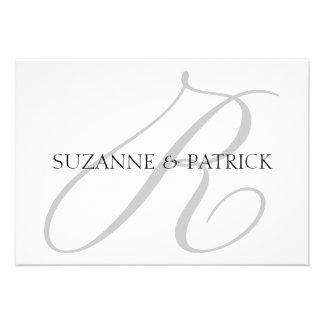 Script R Monogram Notecard Silver Black Personalized Invitations