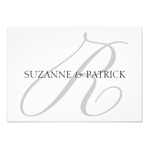 Script R Monogram Notecard (Silver / Black) Personalized Invitations