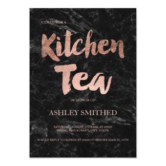 Script rose gold black marble kitchen tea bridal card