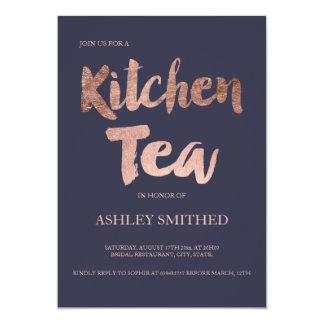 Script rose gold navy blue kitchen tea bridal card