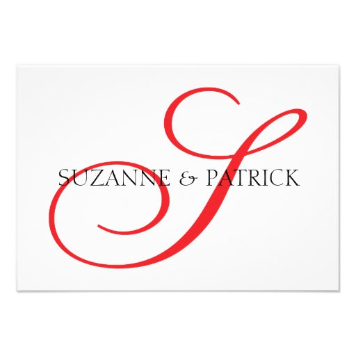 Script S Monogram Notecard (Red / Black) Announcement
