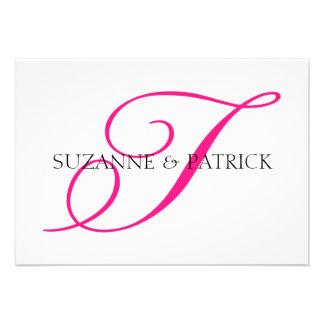 Script T Monogram Notecard Hot Pink Black Invitation