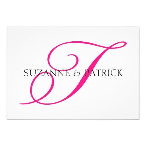 Script T Monogram Notecard (Hot Pink / Black) Invitation