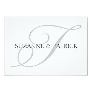 Script T Monogram Notecard (Silver / Black) Invite