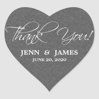 Script Thank You Wedding Favor Labels Heart Sticker