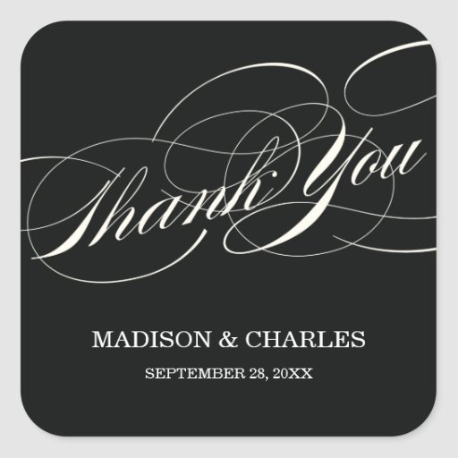 SCRIPT THANKS | WEDDING FAVOR LABELS SQUARE STICKERS