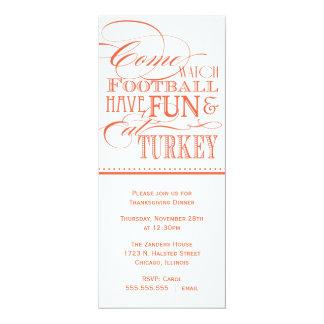 """Script Thanksgiving Dinner Invitation 4"""" X 9.25"""" Invitation Card"""