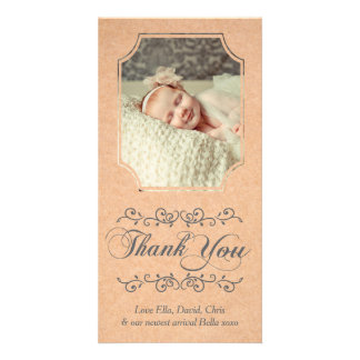 Script Typography Baby Thank You Photo Card
