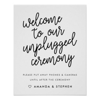 Script Typography Unplugged Wedding Ceremony Sign