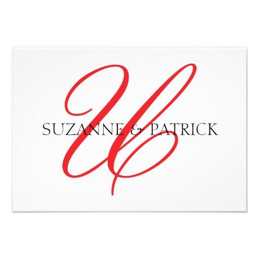 Script U Monogram Notecard (Red / Black) Personalized Invitations